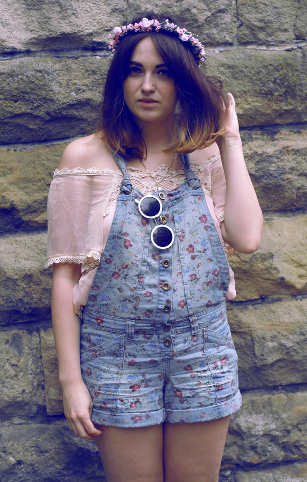 hippy girl, vintage 70s circle sunglasses, wild flower garlands, vintage darling camisole, floral overalls, jeffrey campbell platform boots.