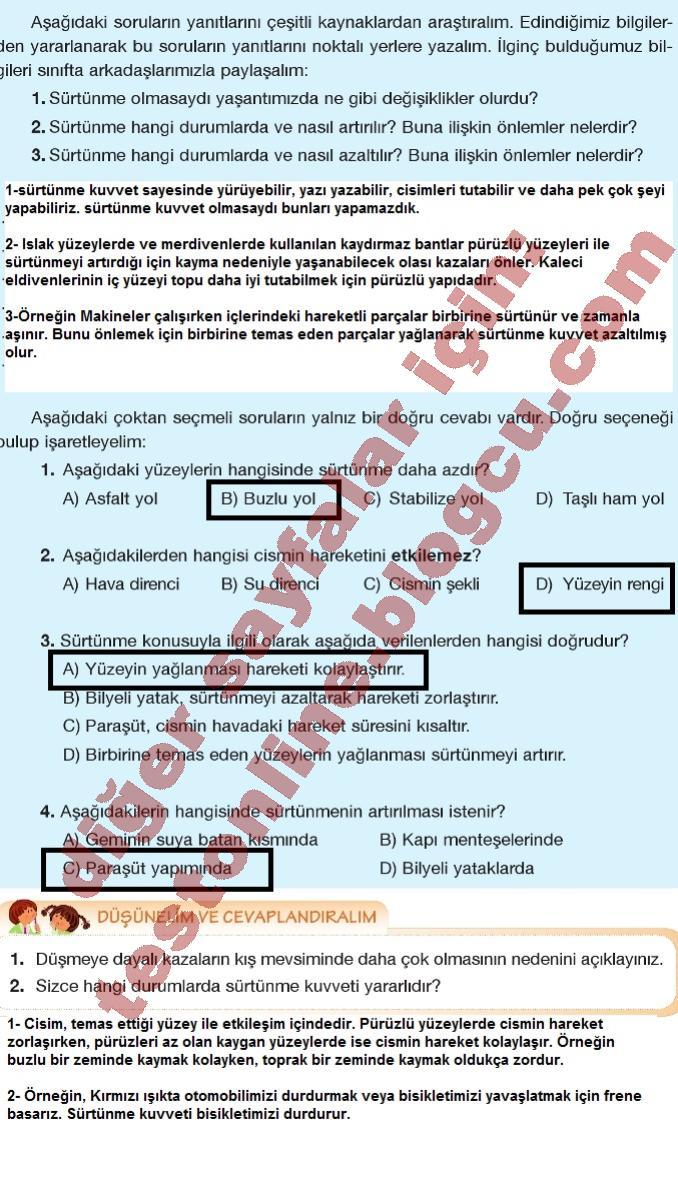 5 Sınıf Fen Bilimleri Ders Kitabı Cevapları Bilim Yayınları 2016