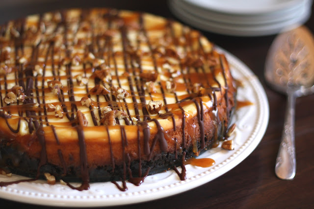 Turtle Cheesecake with Caramel, Chocolate and Pecans recipe by Barefeet In The Kitchen