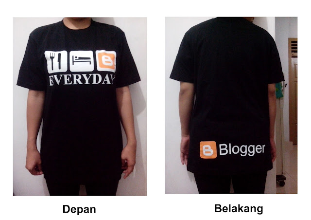 Kaos Blogger Hitam Dengan Gambar Eat, Sleep dan Blog Everyday #2
