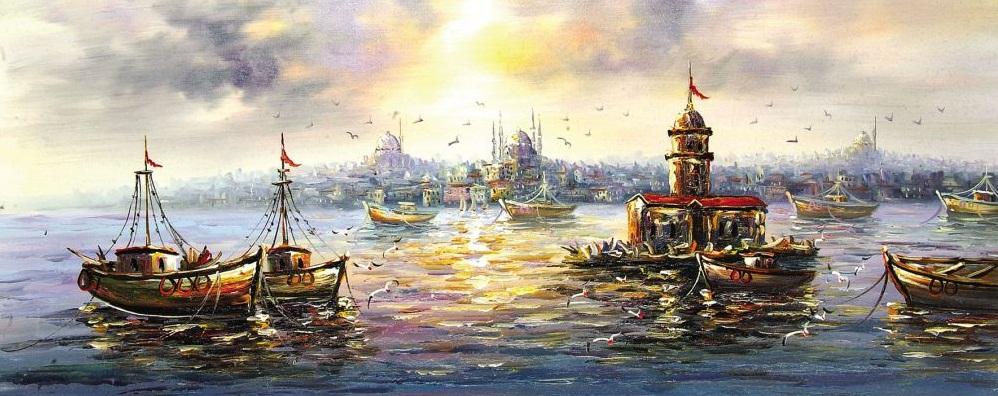 Boya deniz ve istanbul manzarası renkler belirgin ve çanlı