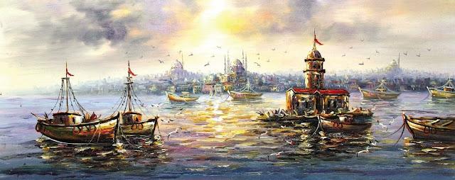 kız kulesi ve deniz canlı renkler yağlı boya