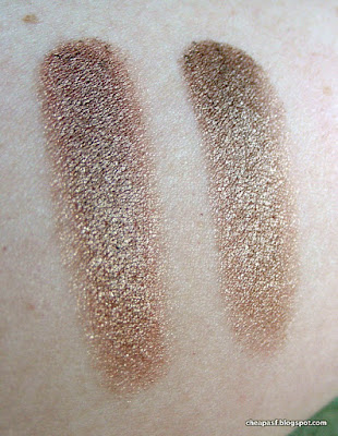 Swatches of e.l.f. Smudge Pot in Cruisin' Chic (left) and Maybelline Color Tattoo in Bad to the Bronze (right)