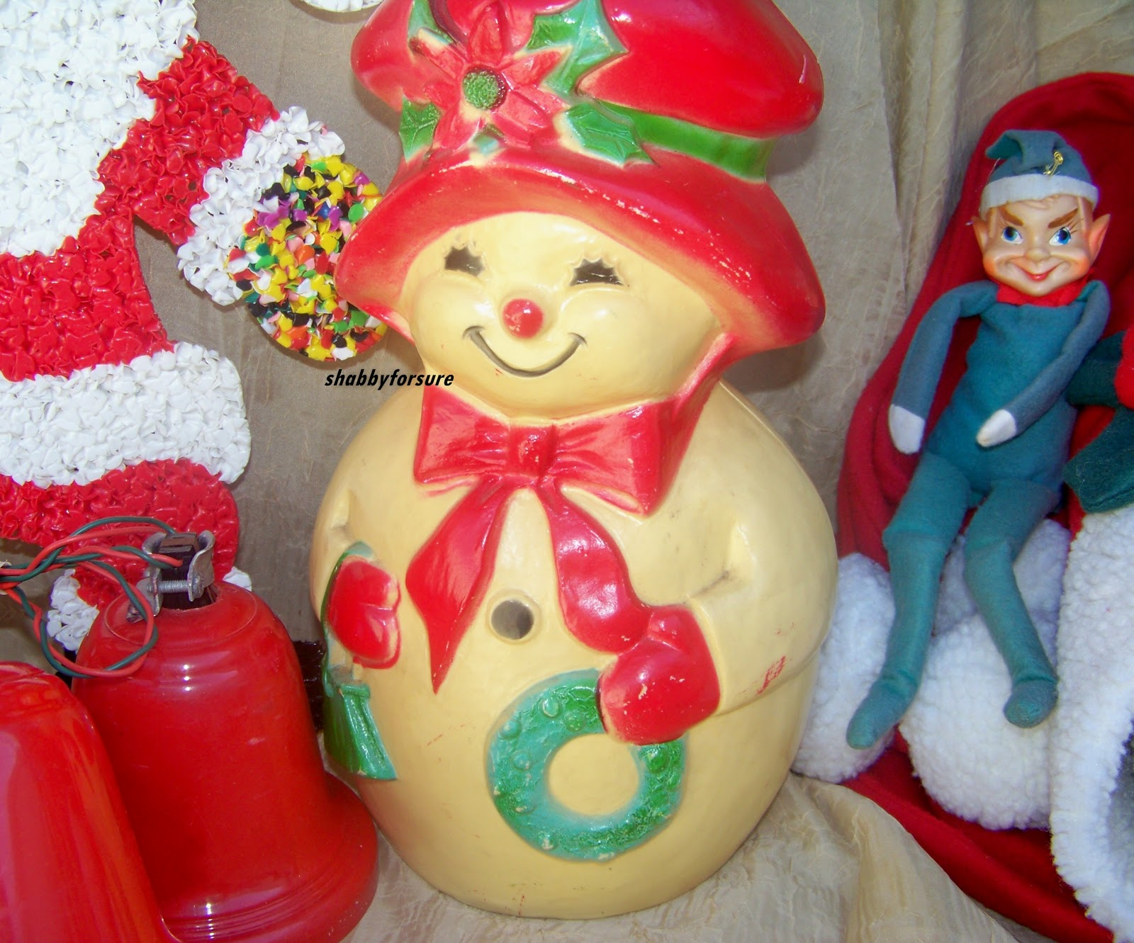 Shabby for sure christmas nostalgia for Plastic snowman
