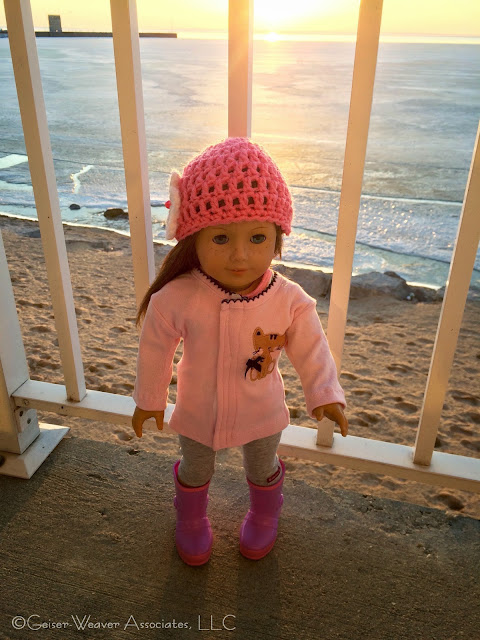 Mackinaw visit, cold pink cat jacket outfit by Geiser-Weaver Associates, LLC