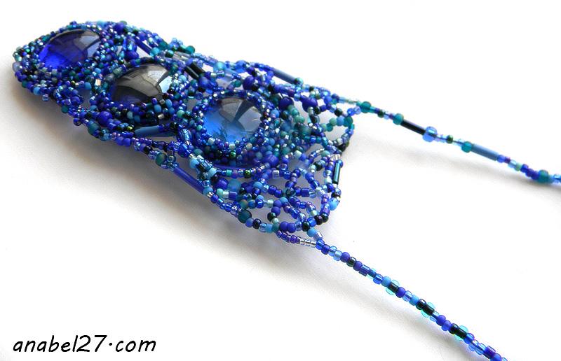 купить украшения в стиле бохо фриформ синий кулон из бисера