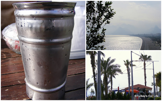 Efes Beer in Tin Cups, Konyaaltı Beach, Antalya