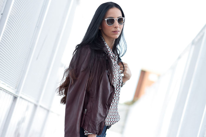 Reval  Leather Biker Jacket in Oxblood Burgundy MUUBAA with Ray Ban Erika sunglasses