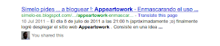 Mi artículo sobre Appeartowork en resultados de Google