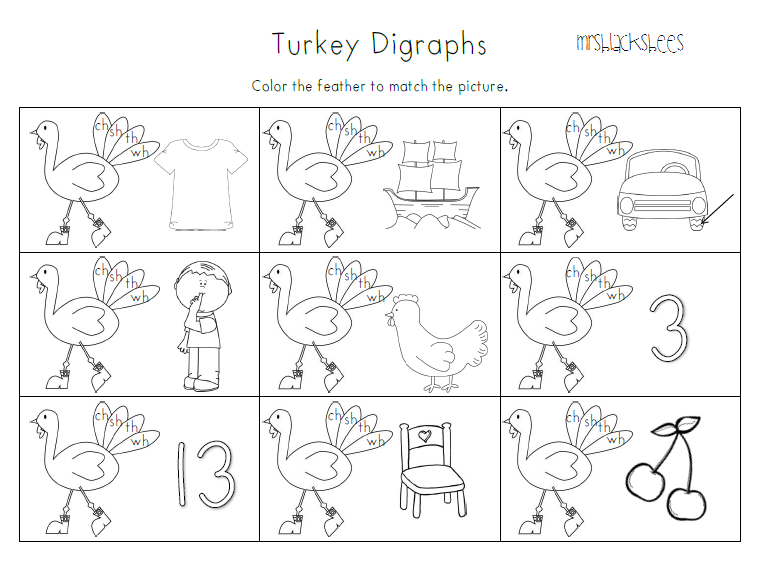 Mrs Blacks Bees Print and Go Thanksgiving Printables – Cut and Paste Rhyming Worksheets for Kindergarten