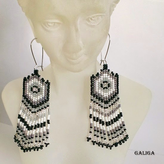 ethnic style beaded earrings-monochrome seed bead earrings-gray theme earrings