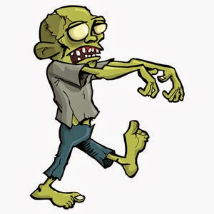 Image of zombie - poking fun at what people think hypnosis is really like.