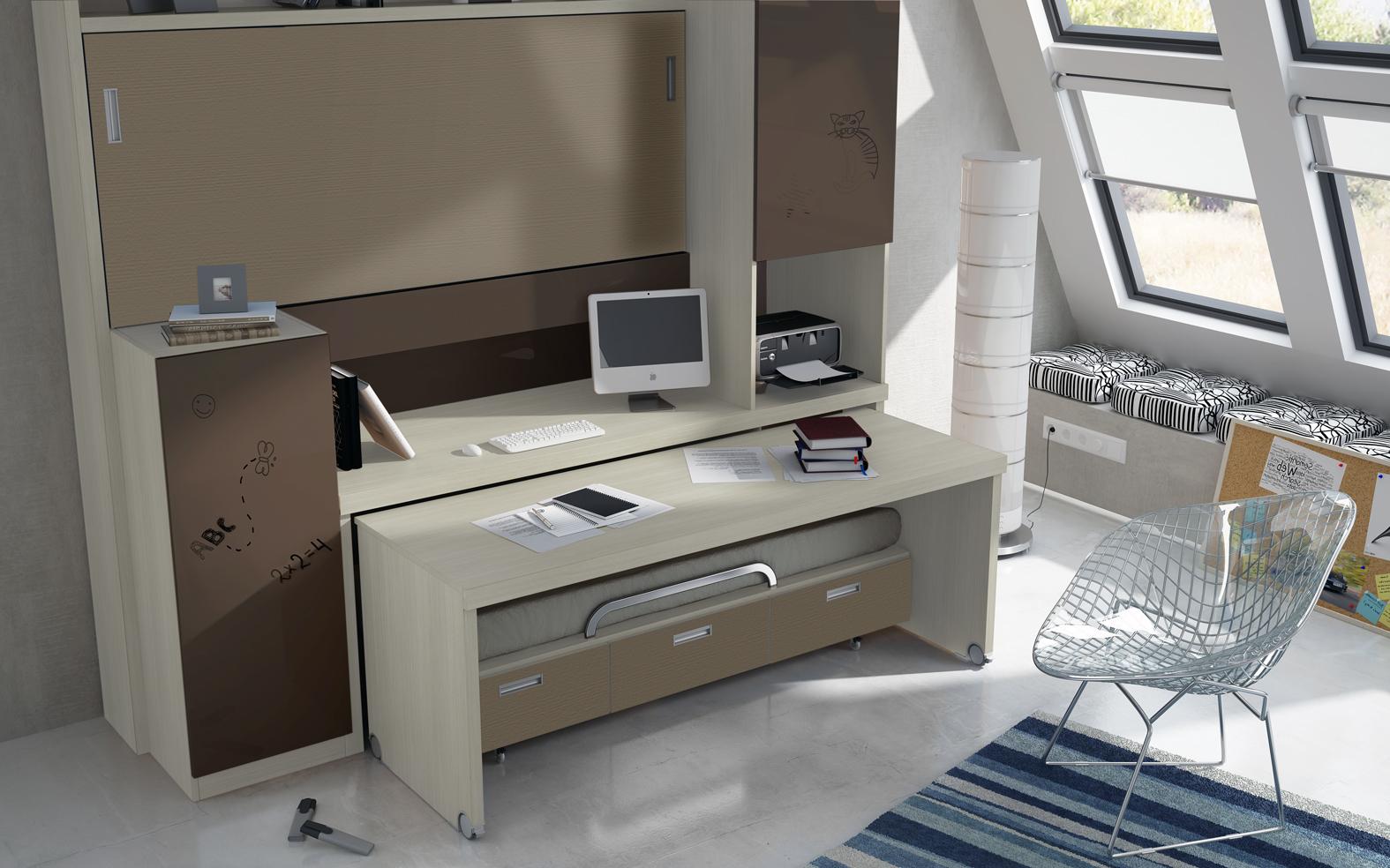 Camas abatibles autoportantes for Cama compacta con escritorio