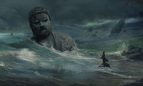 Tsunami , estatua buda, samurai japones com katana, apocalipse