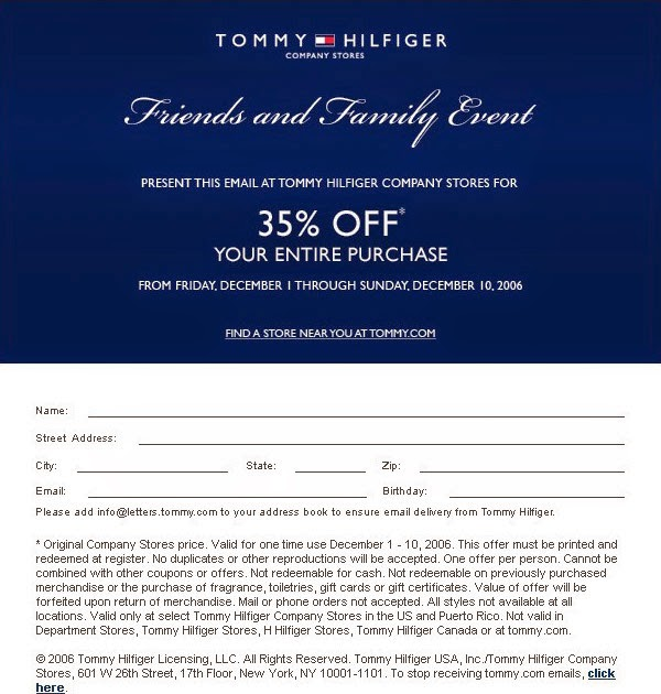 Tommy Hilfiger Coupons, Sales & Promo Codes For Tommy Hilfiger coupon codes and deals, just follow this link to the website to browse their current offerings. And while you're there, sign up for emails to get alerts about discounts and more, right in your inbox.