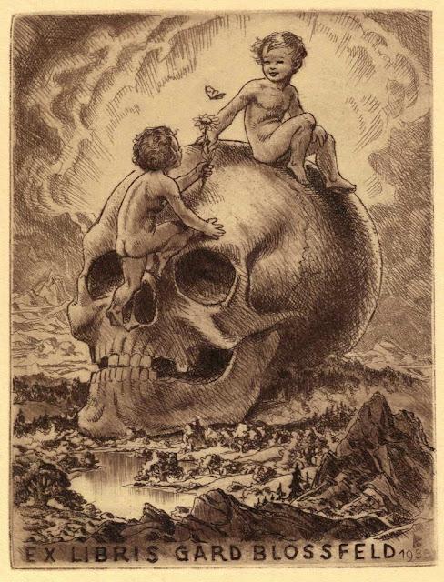 Ex Libris - Gard Blossfeld - Legende børn bestiger forfædrenes kranium