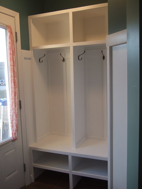 turquoise, mudroom, lockers, hooks