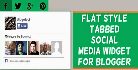Flat Style Tabbed Social Media Widget for Blogger
