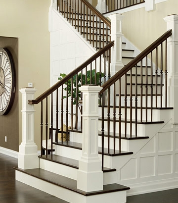 Traditional White And Dark Wood Staircases House Design