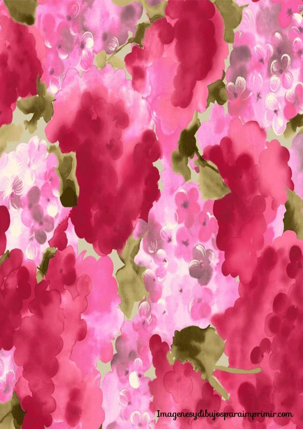 papel con hortensias rosas