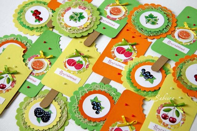 Фруктово-ягодные приглашения на детский праздник, яркие приглашения, детский день рождения, пригласительные своими руками, оригинальные формы приглашений, пригласительные ручной работы