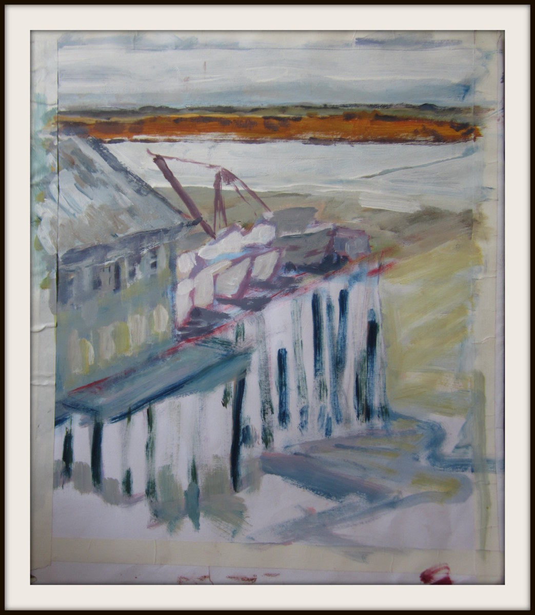Oil sketch of  Boats on dock, NakNek river, low tide, Peter Pan Camp