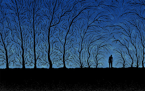 lonely man surrounded by trees
