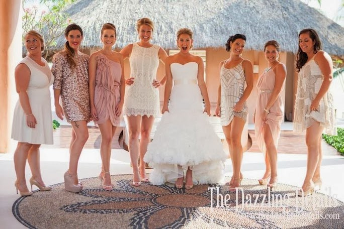 blush gold mismatched bridesmaid dresses