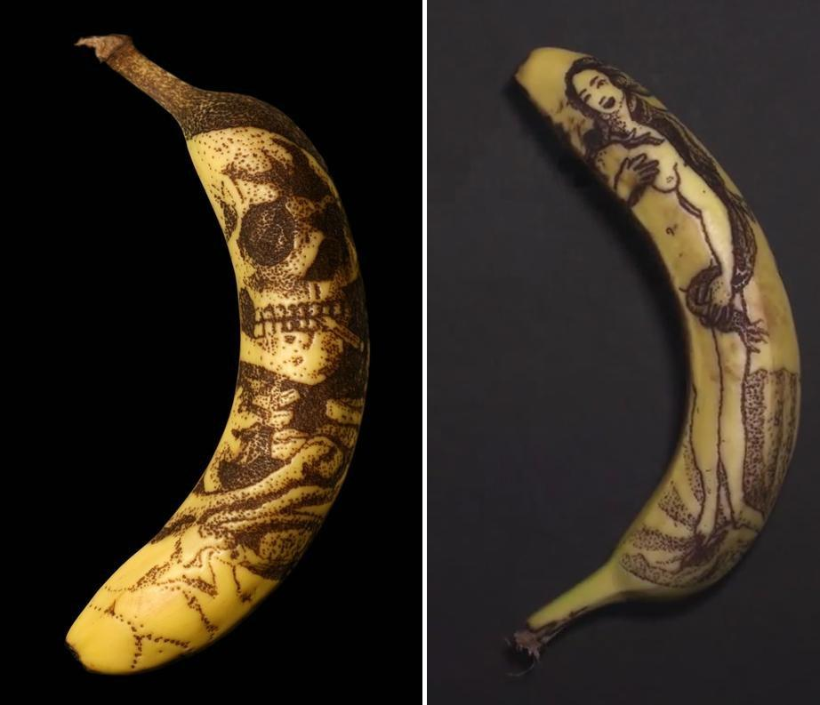 simply creative banana tattoo by phil hansen. Black Bedroom Furniture Sets. Home Design Ideas