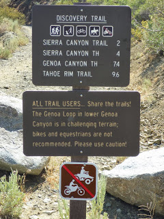Genoa Trail System signpost at Eagle Ridge Trail Access, Douglas County, Nevada