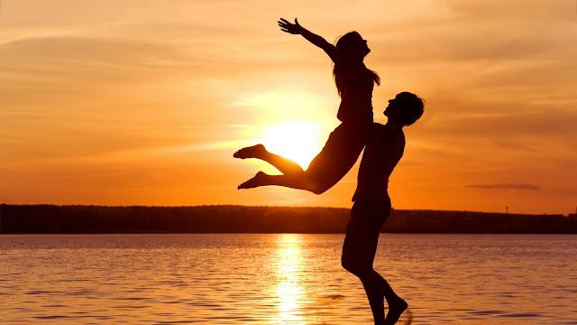 Love Beach Sunset HD Wallpaper