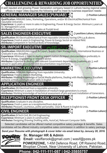Power Generation Jobs in Pakistan Karachi Lahore Islamabad