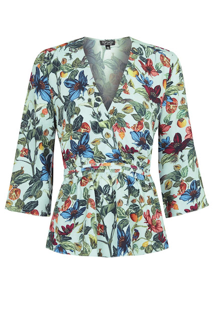 floral v neck top, blue flower blouse,