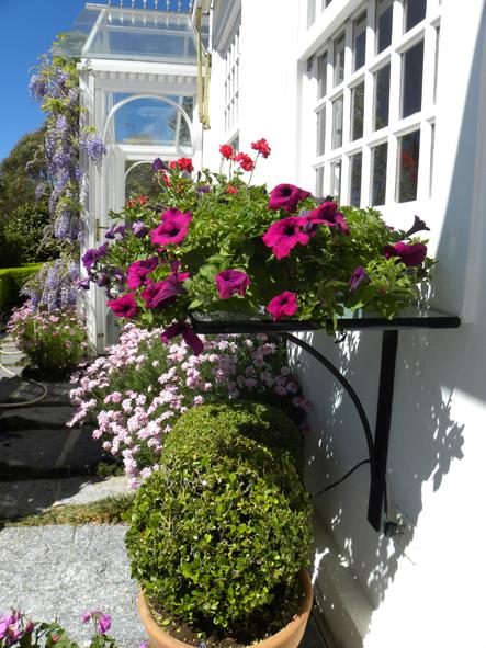 banco de jardim poesia:Aqui, as petúnias e vasos de flores variadas decoram uma prateleira