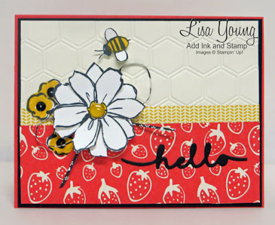 Garden in Bloom Stampin' Up!  stamp set. Strawberry paper with daisy and bee. Handmade card by Lisa Young, Add Ink and Stamp
