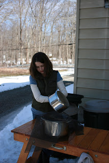 girl straining sap