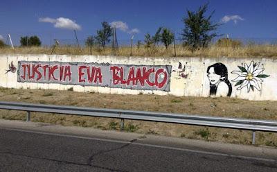 "Graffiti a la entrada de Algete ""Justicia Eva Blanco"""