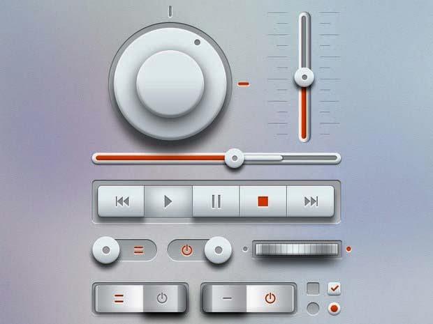 Free PSD – Light Music UI Kit
