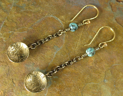 Libellula Jewelry:  Etched Brass African Turquoise Jasper Earrings