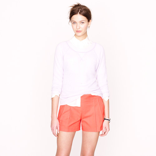 J Crew Pleated Structured Cotton Shorts