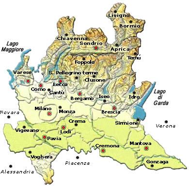 Cartina Politica della Lombardia