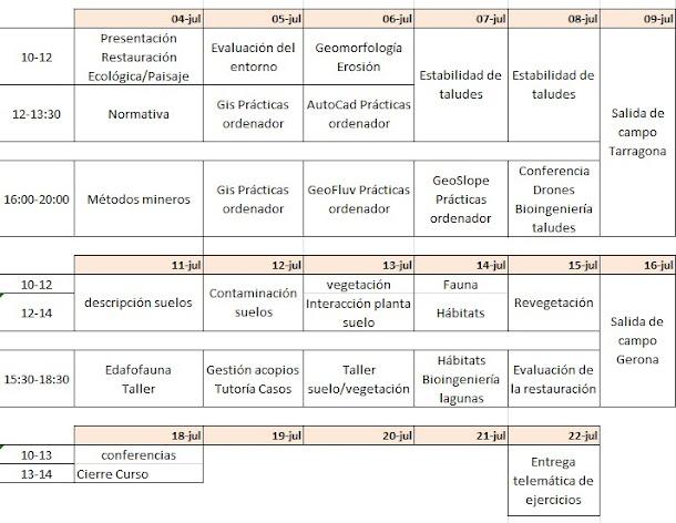 Organización del curso