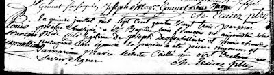 Francois Desgroseilliers 1783 baptism record.