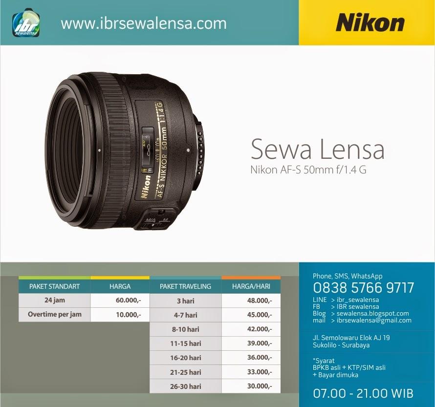50. Harga sewa lensa Nikon AFS 50mm f1.4 G