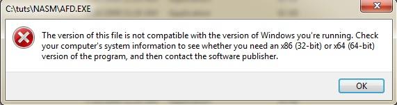 AFD ERROR on 64 bit OS