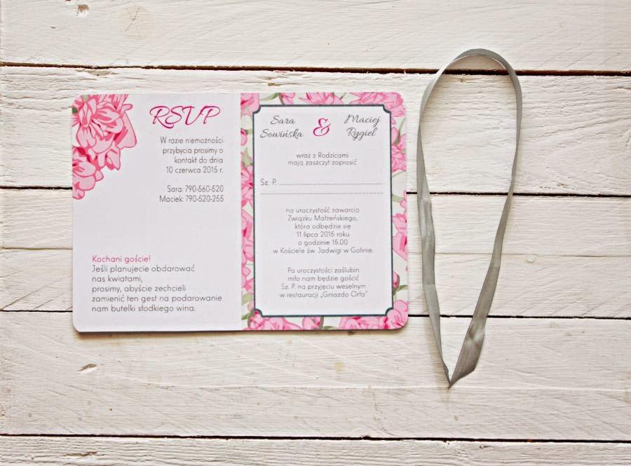 Zaproszenie ślubne w kwiaty różowe