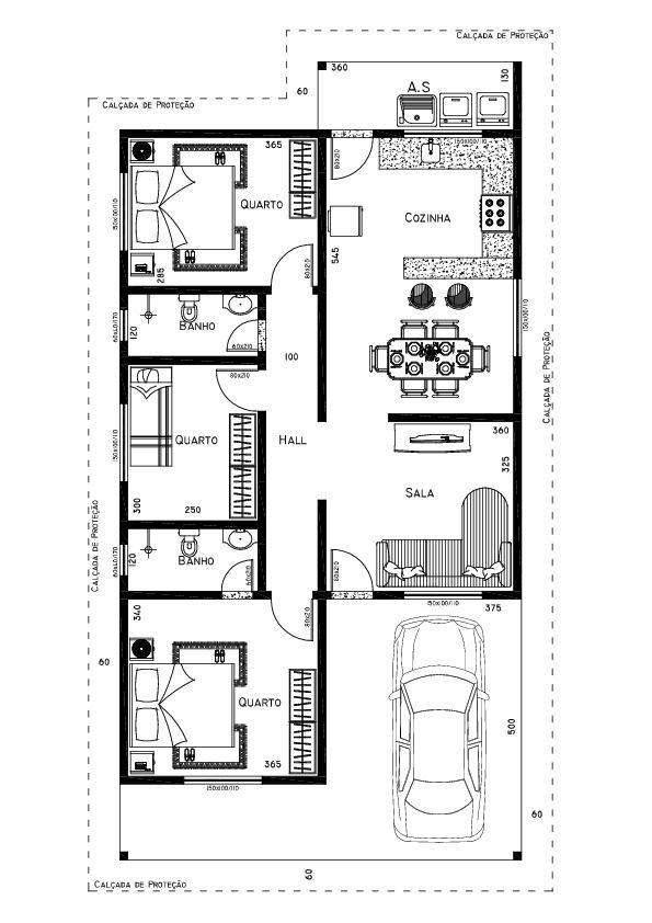 Famosos Só Projetos Grátis: Projeto grátis de uma casa com 88 M2 KR95