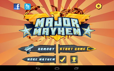 Major Mayhem: The main screen