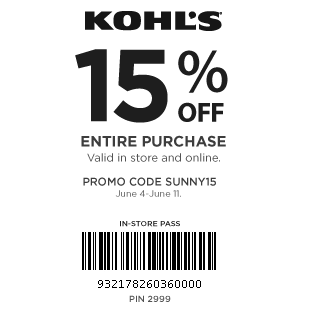 Kohls in store coupons 15 off