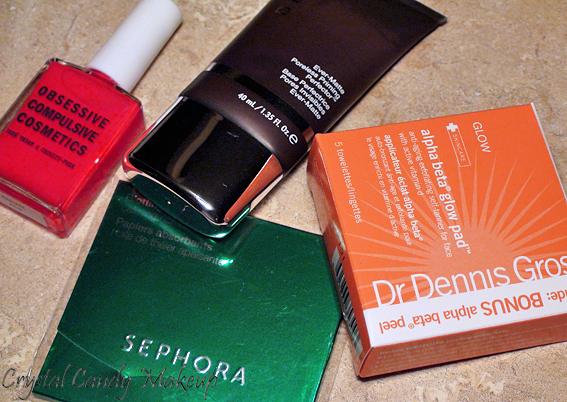 Commande Sephora (Becca Ever-Matte Poreless Priming Perfector, Dr Dennis Gross Alpha Beta Glow Pads, OCC Radiate, Sephora blotting papers)
